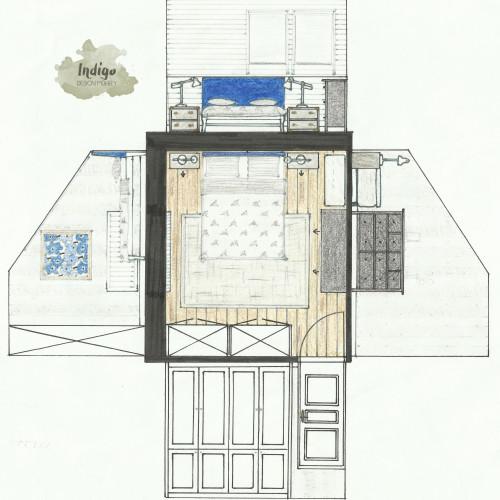 Hálószoba Marimekkoval alaprajz+falnézet